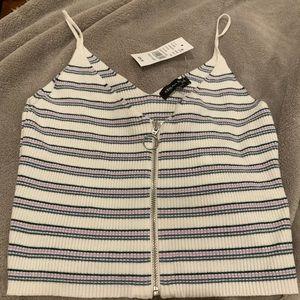 Kendall & Kylie Knit Crop Top White Striped Zipper